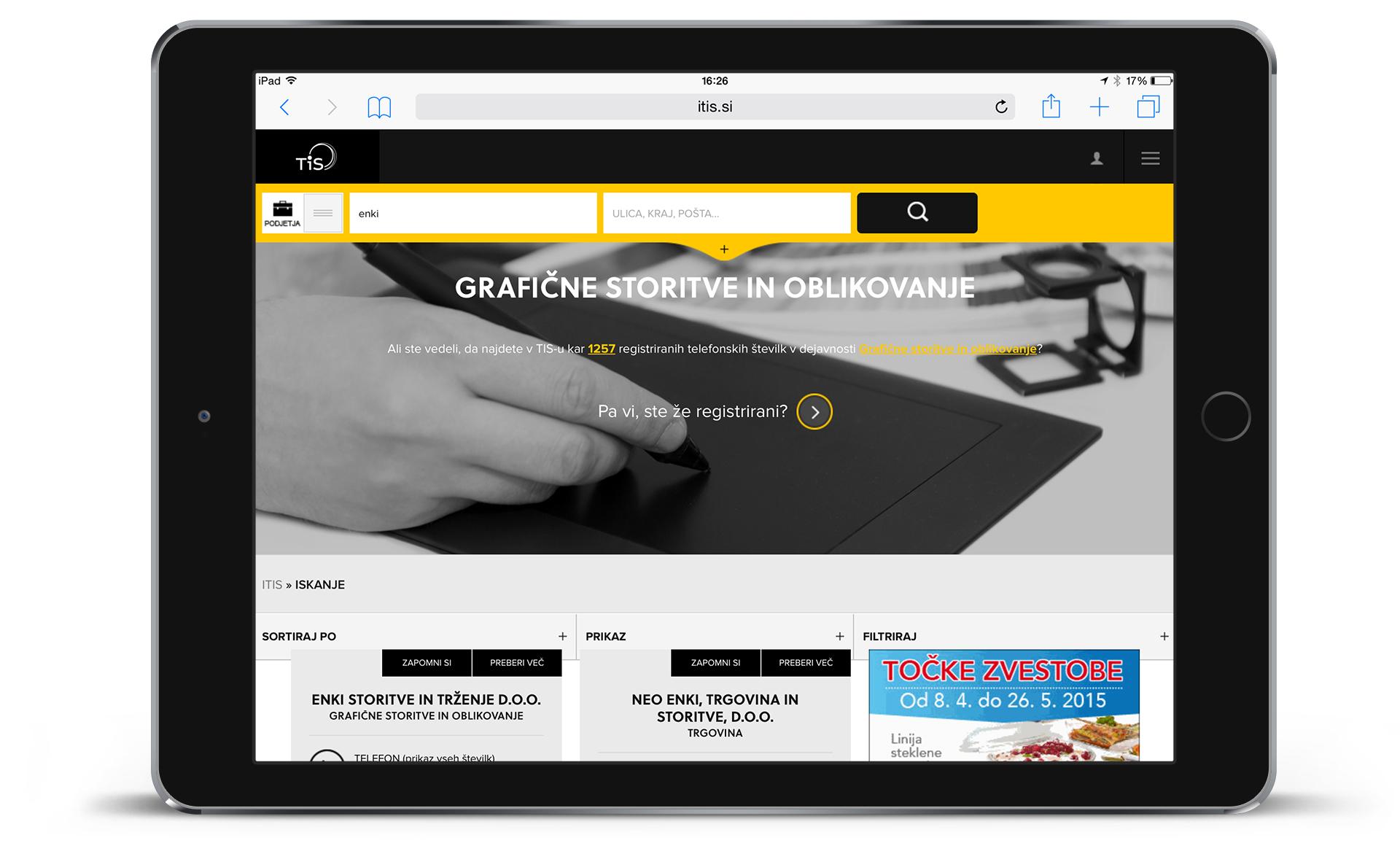 Telefonski imenik Slovenije - grafična podoba spletne strani